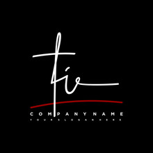 TI Signature Initials. Handwritten Logo Vector Template With Red Underline. Hand Drawn Calligraphy Lettering Vector Illustration.