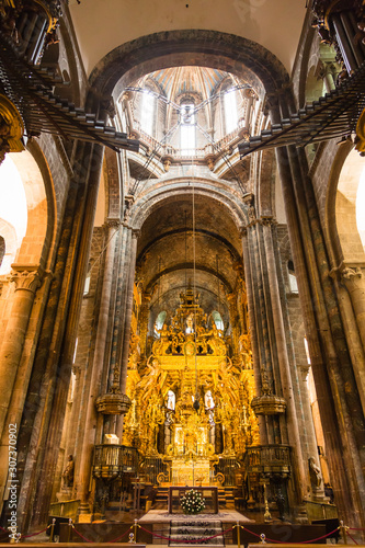 スペイン サンティアゴ・デ・コンポステーラの大聖堂内部 Canvas Print
