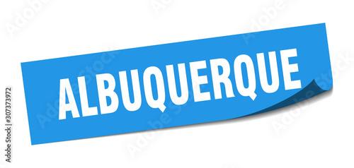 Photo Albuquerque sticker. Albuquerque blue square peeler sign