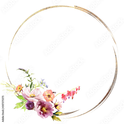 Fototapety, obrazy: Wedding frame wreath bridal romanric rustic warm bouquet. Hand drawing watercolor pink and purple and orange flowers ornament