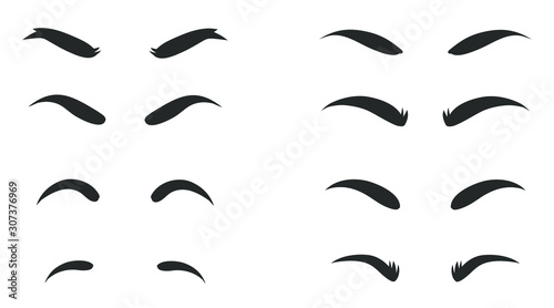 Obraz Eyebrows shapes Set. Eyebrow shapes. Various types of eyebrows. Makeup tips. Eyebrow shaping for women. Classic type and different thickness of brows. - fototapety do salonu