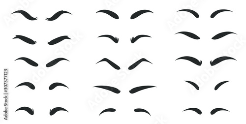 Obraz Eyebrows shapes Set. Eyebrow shapes. Various types of eyebrows. Makeup tips. Classic type and different thickness of brows. - fototapety do salonu