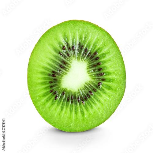 Fotomural  Kiwi slice on white background. Fresh ripe fruit closeup