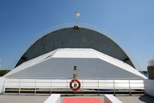 Close Up Shot Of The Open Cargo / Bow Gate From The Deck Of A Ferry.