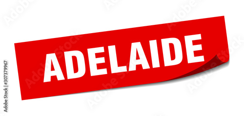 Photo Adelaide sticker. Adelaide red square peeler sign