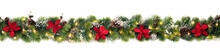 Christmas Tree Garland Decorated With Red Christmas Poinsettia Flowers And Shiny Led Lights, Festive Banner