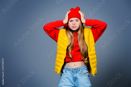 girl in bright casual clothes