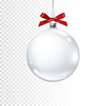 Christmas Ball With Ribbon On ...