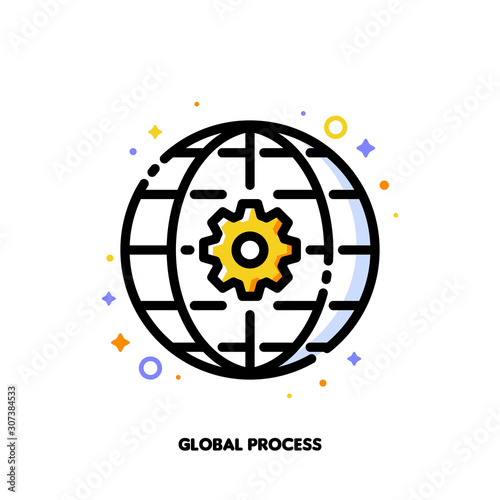 Fényképezés Icon of gear and globe for international business process concept