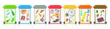 Waste Sorting, Sorting Waste For Recycling, Garbage Sorting, Recycling Bins. Different Types Of Garbage: Paper, Plastics, Scrap Metal, Glass, Organic, E-waste. Modern Flat Vector Illustration.