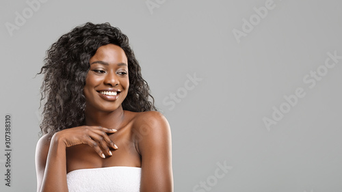 Fototapeta Beauty portrait of afro girl with white smile and flawless skin