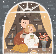 Vector Cute Illustration Of A Happy Family Or Couple In Love Drinking Hot Coffee Or Tea Near The Window With A Pet. Winter Card For New Year, Christmas Or Valentines Day