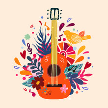 Guitar Flat Hand Drawn Vector ...