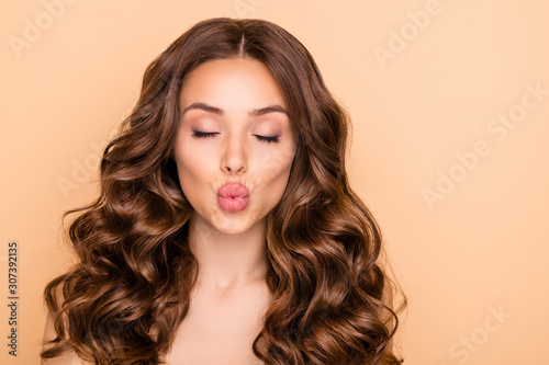 Close-up portrait of her she nice-looking attractive lovely sweet tender gorgeou Canvas Print