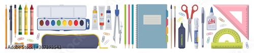 Fotografía  Stationery set. School items. Vector flat isolated illustration