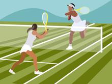 Tennis, Sports Game. In Minimalist Style Cartoon Flat Raster