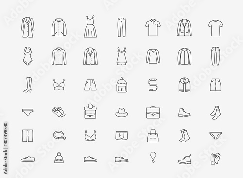 Canvas Print Clothing icon set in linear style. Fashion vector illustration