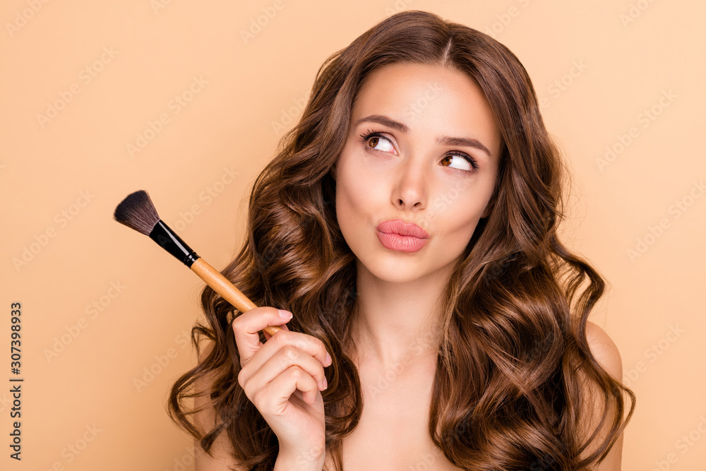Fototapeta Close up photo of uncertain unsure girl hesitate hold blush blusher dont know apply powder rouge to make visage ideal isolated over pastel color background