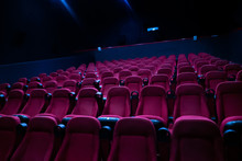 The Empty Row Line Of Seats In The Cinema Hall