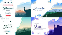 Vector Backgrounds Set. Travel...