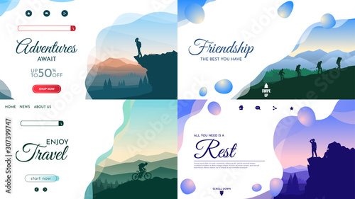 Obraz Vector backgrounds set. Travel concept of discovering, exploring and observing nature. Hiking. Adventure tourism. Flat design template of gift cards, cover, banner, invitation, poster, website layout. - fototapety do salonu