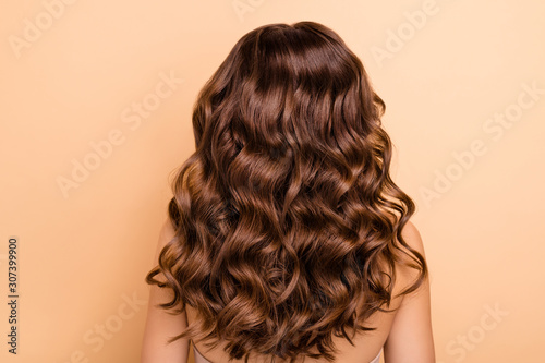 Vászonkép Back rear side photo of charming girl show perfect strong wellness hairstyle hai