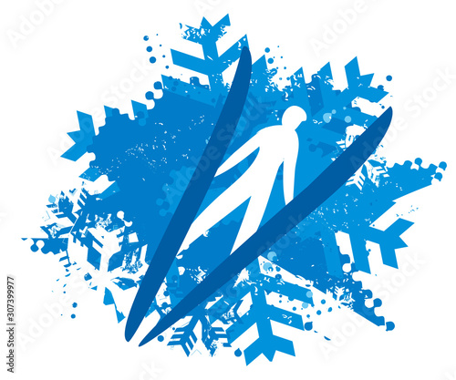 Ski Jumper on Snowflakes grunge background. Illustration of Ski Jumper flying in v-style. Isolated on white background. Vector available.