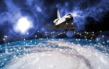 Space Ship Shuttle On The Earth Orbit In Atmosphere. Flying In Outer Space. Elements Of This Image Furnished By NASA