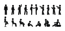 Stick Figure People Icon, Pict...