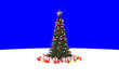 Leinwanddruck Bild - Christmas Tree isolated on blue background. 3d render