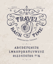 Font Travel Back In Time. Vint...