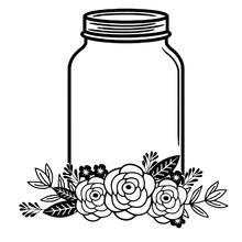 Floral Mason Jar Vector Design