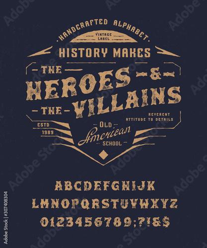 Fototapeta  Font Heroes and Villains. Vintage letters, numbers