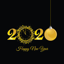 Happy New Year 2020 With Clock In Gold Illustration