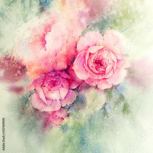 roze-akwarela-akwarela-botaniczna