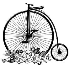 Floral Vintage Bicycle Vector ...
