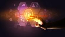 Hand Touching VPN Inscription,...