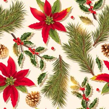 Vector Seamless Pattern With Holly And Pine
