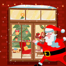 Santa Claus Looking Through A Window With Into A Decorated Room On The Snowy Night Before Christmas. Santa Outside Looks Out The Yellow Window. Vector Illustration In A Cartoon Style.