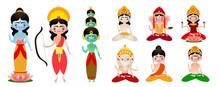 Different Standing And Sitting Hindu Deities Vector Illustration
