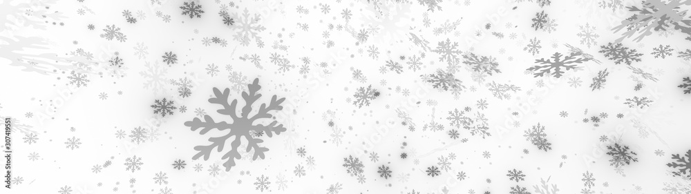 Bokeh abstract Christmas and new year background with stunning motion of snowflakes lighting. 3d illustration