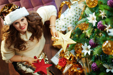 Happy Elegant Housewife Holding 2 Red Gold Topper Stars