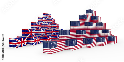 Photo 3D Illustration of the group Cargo Containers with UK and United States of America (USA) Flag