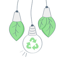 Green Eco Energy Icons Set, Plant Growing Inside The Light Bulb And Recycling Sign Inside The Lamp, Green Energy, Ecological Friendly Concept. Flat Outline Isolated Vector Illustration On White.
