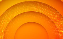 Abstract 3D Circle Papercut Layer Orange Background With Glitters Decoration