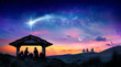 canvas print picture - Nativity Of Jesus - Scene With The Holy Family With Comet At Sunrise