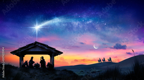 Foto Nativity Of Jesus - Scene With The Holy Family With Comet At Sunrise