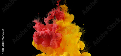 Acrylic colors in water. Ink blot. Abstract smoke background.