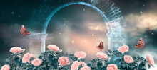 Fantasy Fabulous Panoramic Banner Background Of Magical Night Sky With Shining Stars, Clouds And Roses Garden And Peacock Eye Butterflies Against Magical Mirage Of Old Stone Ruins Of Ancient Gate