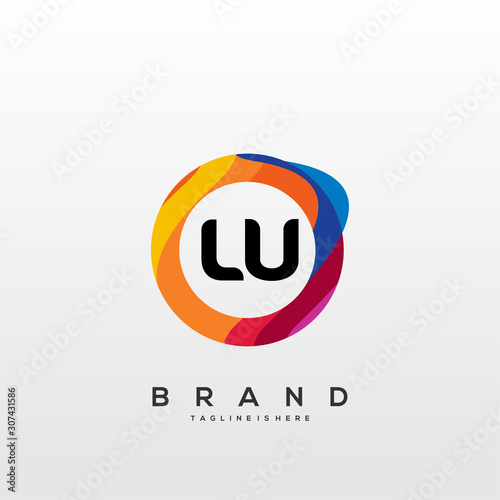 LU initial logo With Colorful Circle template vector. Fototapete